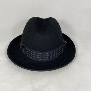 STACY ADAMS Classic Fedora Hat Black NWT